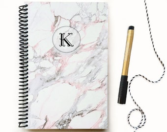 Custom notebook / Monogram Notebook / Marble notebook / Marble journal / Personalized journal note book