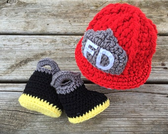 Crochet Firefighter Hat and Boots