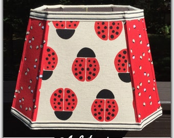 LADYBUG Handmade LAMP SHADE Lampshades with Red Black and Ivory Fabric Light Shades for a Little Girl's Room or Nursery Decor
