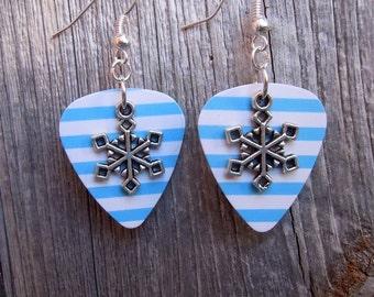 Snowflake Guitar Pick Earrings - Pick Your Pattern
