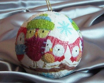 Christmas ball ornament with owls