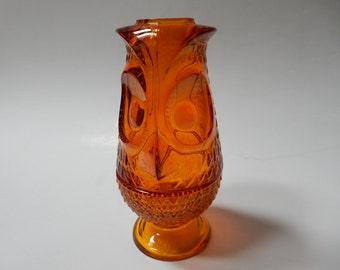 Orange Owl Candle Holder, Viking Glass