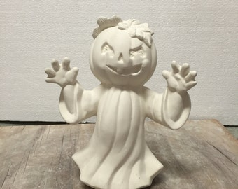 Ceramic Bisque Halloween Pumpkin Head Ghost Ready to Paint Clay Magic