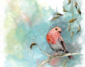 Robin bird print in blue and orange. Nature prints of a cute bird for your nature decor.