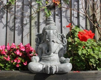 Hindu Ganesha Statue, Stone Garden Ornament, Cornwall Stoneware Company, Hinduism, Outdoor Living, Unusual Gift Idea