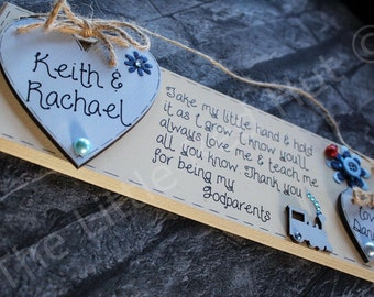 Personalised thank you godparent/s Plaque Gift