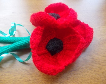 Bunch of hand knitted poppies, flowers, floral arrangement, artificial flowers, bouquet, new house gift, gift