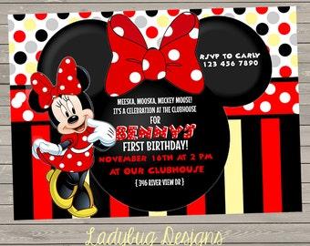 Minnie or Mickey Birthday Invite