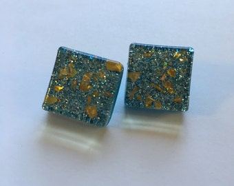 Small sky blue glitter squares with gold flake