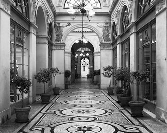 Paris black and white photography, Paris galerie, covered passage, architecture, French wall art, Paris decor, home decor, fine art print
