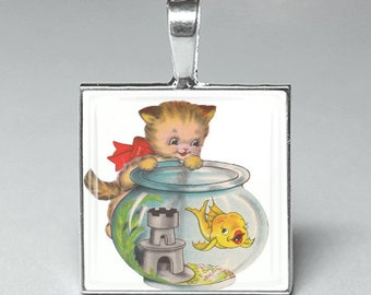 Adorable cat with goldfish cats kittens glass tile pendant jewelry