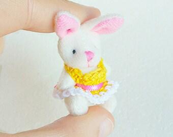 Miniature dollhouse bunny teddy bear toy / 1:12 dollhouse miniature bunny / collectible miniature toys / scale one inch stuffed rabbit