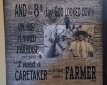 And on 8th Day God Made A Farmer Photo Frame with Clip Paul Harvey - Christmas, Father's Day, FFA