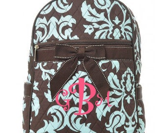 "Personalized Quilted Damask Backpack - Medium 11"" Brown and Turquoise with Brown accents - DAQ2716-BRTQ"