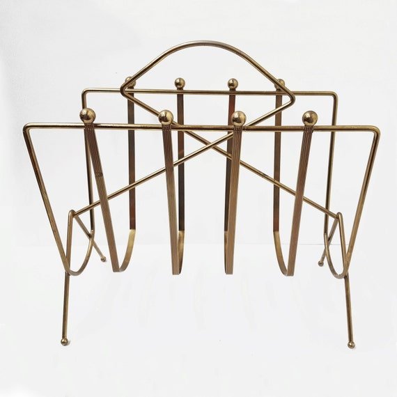 mid century wire magazine rack book holder record holder. Black Bedroom Furniture Sets. Home Design Ideas