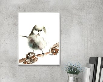 Bird Watercolor Print, Chickadee Painting, Bird Watercolor Painting Art Print, Bird Wall Art