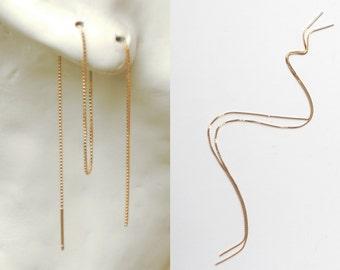 Custom Length Threader Earrings Rose Gold, Gold Vermeil, Sterling Silver, Minimal Multiple Piercing Chain Earrings, Long Ear Thread Earrings