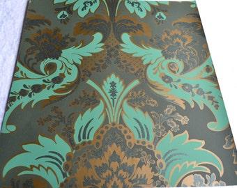 Wallpaper - Cole and Son  Sample Sheet  - 19 x 17  Albemarle Aldwych - Metallic Green Grey
