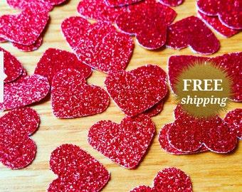 Red Heart Confetti Red Glitter Heart Confetti Red Paper Hearts Glitter Red Confetti Table Scatter Valentine's Day Confetti Glitter Hearts