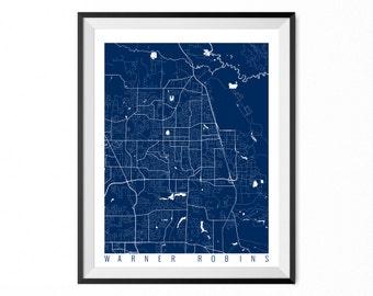 WARNER ROBINS Map Art Print / Warner Robins City Poster / Warner Robins Wall Art / Georgia/ Gift / Georgia home decor