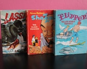 Set of 3 Big Little Books, Shazzan, Lassie, Flipper Big Little Books, 2000 Series, Vintage Children's Books About TV Shows in the Sixties