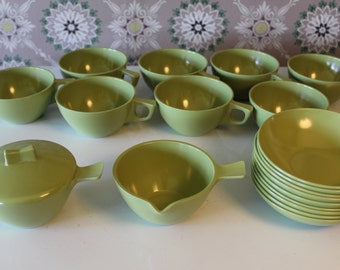 Set of 20 Plastic Dishes, Avocado Green Melmac Dishes, Olive Green Melmac Dish Set, Sun-Valley Melmac, Green Melamine, Retro Dishes