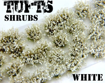 Shrubs TUFTS - 6mm self-adhesive WHITE Scenery Miniature diorama Basing Landscape