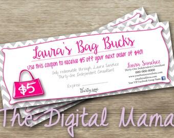Thirty-One Bag Bucks Coupon - Thirty-One Consultant Coupon - Direct Sales Consultant Bag Bucks - Direct Sales Coupon - Digital Download
