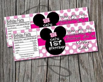 Minnie Mouse Bottle Labels