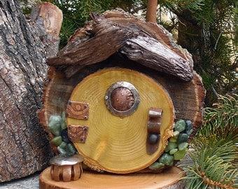 Crooked Forest Hobbit Door ~ Gnome Door ~ Woodland Gnome House ~ Fairy Elf Faerie Pixie Elfin ~ Garden Door ~ Mini Fairy Garden ~ Rustic