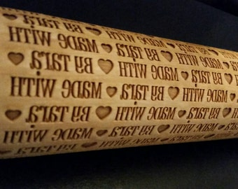 Engraved Wood Rolling Pin Print Style