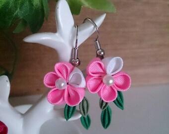 Pink Flower Earrings 8-2