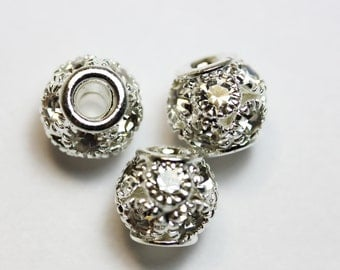 4pcs 8mm ball  Jewellery Findings Beads,Clear rhinestone and silver-plated Brass,2mm hole.- MER0067