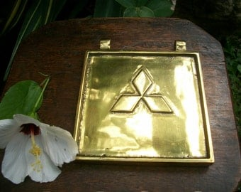 1950s Japanese Heavy Solid Brass Mitsubishi Truck Engine Cover Paper Weight