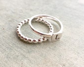Set of two silver stacking rings