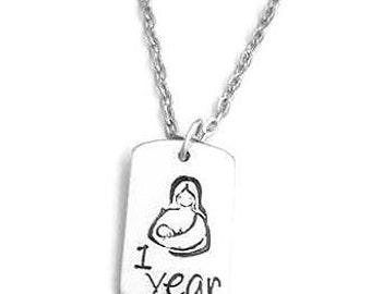 Breastfeeding Necklace - 1 Year, Golden Boobies