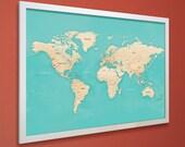 Push Pin Travel Map - White Frame