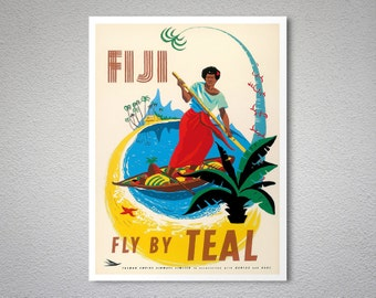 Fiji Fly by Teal  Vintage Airline Travel Poster - Poster Print, Sticker or Canvas Print