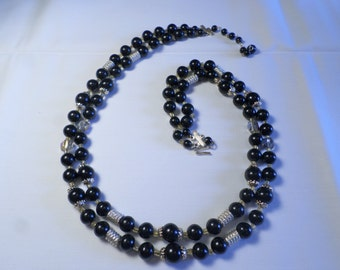 Beautiful Vintage Gold Tone Double Strand Black Lucite and Crystal Beaded Necklace Signed Japan  DL#7019