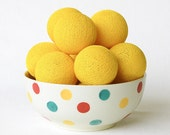 Yellow Cotton Ball String Lights for Bedroom Baby room Wedding Birthday Party Fairy Patio Decor Night Lights