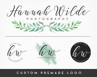 Premade Logo Design, Leaf Wreath, Calligraphy Logo, Handwritten Logo, Photography Logo, Sub marks + Watermarks,  Branding Kit