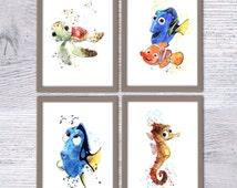 Nemo Disney, Set of 4, Finding Nemo, Nursery poster, Turtle Squirt, Sea horse Sheldon, Dory fish, Art nautical animal art, Kids room, V23