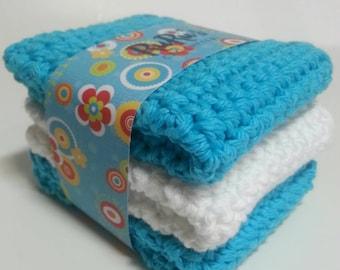 Set of 3 handmade Crochet Washcloths