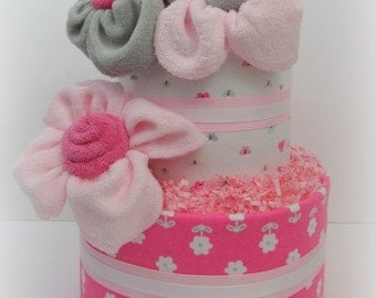 Baby Girl Diaper Cake, Pink and Gray Diaper Cake, Baby Shower Centerpiece, Baby Girl Shower Gift, Diaper Cake, Centerpiece
