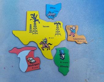 80s Game, Vintage Game Pieces, State to State Game, Texas, Ohio, Louisiana, Illinois, Michigan