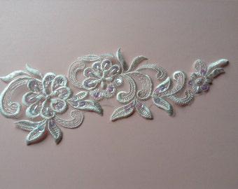 wedding lace applique, lace motif, sequins, beaded lace applique, beaded lace,