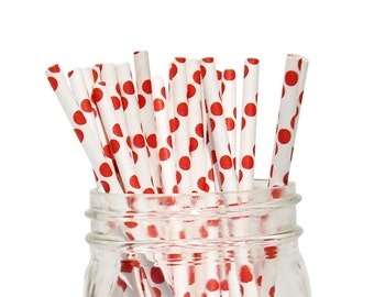 Red Polka Dot Party Paper Straws 25pcs  PDS250035 Just Artifacts Brand