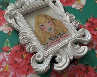 """Original Illustration Framed Mini Print """"Feelings"""" (Charming Lovettes)"""