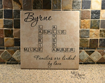 Adoption Gift, Blended Family Gift,  Families are linked by love, Family Sign, Family Tile,Family Gift,Personalized Family Gift,Family Quote
