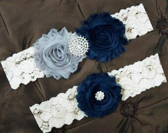 Navy and Gray Garter, Bridal Garter Set, Wedding Garter Lace, Keepsake Garter, Navy Toss Garter, You Choose Colors